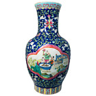 Antique Chinese Vase Blue Pink Floral Ching Dynasty Tongzhi Urn Famille Rose