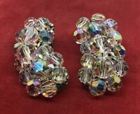 Vintage Earrings Aurora Borealis Rhinestone Clip On