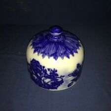 Antique ~ Food or Cheese Dish Vented Dome Victorian Scene Flow BLUE & WHITE