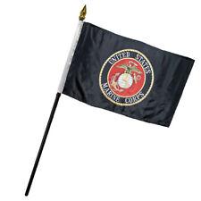 """Marines USMC Black Marine Corps Flag 4""""x6"""" Desk Set Table"""