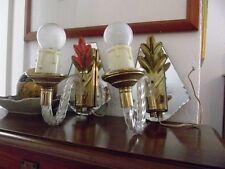 Paire d'appliques anciennes style Murano bras Verre torsadé/ miroir biseauté