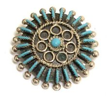 Zuni Handmade Sterling Silver Turquoise Needlepoint Cluster Pendant and Pin