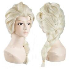 Blonde Wig Elsa Fancy Dress Costume Princess Frozen Beautiful Snow Queen Braid
