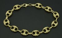 """Mens 10mm 10k Real Yellow Gold Nugget Gucci Link Bracelet. 8 1/2"""" 8 grams"""