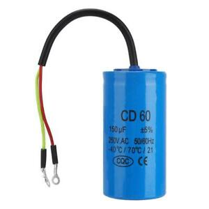 CD60 Run Capacitor with Wire Lead 250VAC 150uF 50/60Hz for Motor Air Compressor