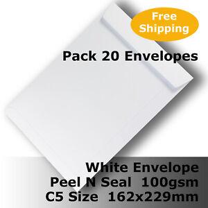 20 x Envelopes White C5 Size 162 x 229mm Pocket Shape Peel N Seal #E55CH #C1