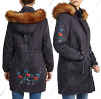 NEW Womens FAUX FUR PARKA PADDED QUILTED COAT JACKET Size 8 10 12 14 16 Navy