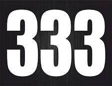 Set 3x sticker vinyl decal car bike door wheelie bin number 3 white race