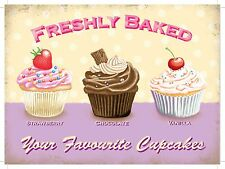 Freshly Baked Cupcakes Cake Shop Tea Room Cafe Kitchen Large Metal/Tin Sign