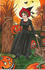 PAINTING ORIGINAL POSTCARD HALLOWEEN RYTA WITCH JOL HAND PAINTED WICCA BATS ART