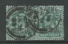 GB OFFICIAL ARMY KE7 1/2d PAIR..USED WILTS DEVIZES...FU
