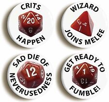 ROLE PLAY GAME DICE FUNNY BADGE BUTTON PIN SET (Size is 1inch/25mm Diameter)