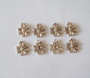 8 X FLOWER SILVER TONE CHARMS 15MM X 15MM JEWELLERY MAKING CRAFTS