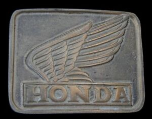 GREAT VINTAGE 1980'S HONDA MOTORCYCLES BELT BUCKLE SOLID BRASS!