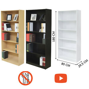 5 Tier Tall Wooden Bookcase Easy Assembly & Video Assembly Strong Furniture Unit