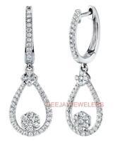 Natural 1.00ct VS1 Diamond Dangle Earrings 18k White Gold Teardrop Cluster