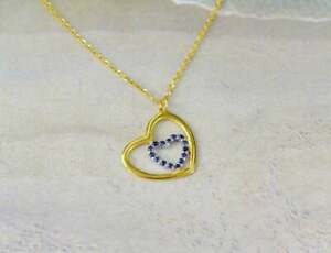 0.50 Ct Round Blue Sapphire Women's Heart Charm Pendant 14K Yellow Gold Plated