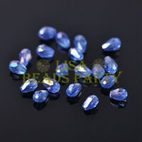 New 100pcs 5X3mm Teardrop Crystal Glass Faceted Spacer Loose Beads Light Blue AB