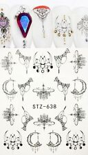 Nail Art Water Decals Stickers Transfers Black Lace Flowers Gems Moon (ST638)
