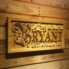 wpa0246 Personalized Wedding Last First Name Rustic Home D?cor Gift Wooden Sign
