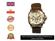 New Genuine Fossil  FS4929 Men's Machine Brown Leather Band Watch UK Stock