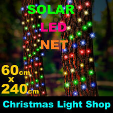 solar tree trunk net multicolour led flashing outdoor christmas tree lights 24m - Netted Christmas Lights