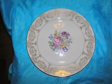 "Rosental Ivory Large Dinner Plate Roses Gilding Beautiful Just Under 11"" wide"