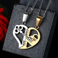 2pc His and Hers Stainless Steel Love Heart Lock&Key Couple Necklace Pendant New