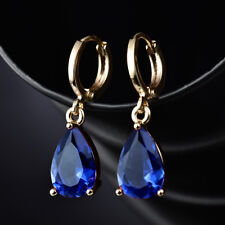 Women 18K Gold Filled Aquamarine Sapphire Dangle Hoop Earring Dancing Party Hot