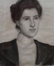 VICTORIAN PRE-RAPHAELITE PORTRAIT WOMAN DRAWING ART c1890 BRITISH PAINTING