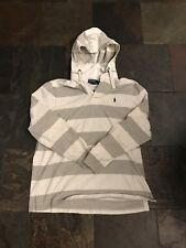 Vintage polo Ralph Lauren Striped Hooded Collared Rugby Shirt Pony Logo Size L
