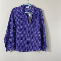 Chico's NO-IRON Size 2 Button Down Long Sleeves Shirt Blouse Purple/white