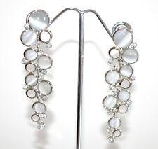 ORECCHINI a CLIPS donna ARGENTO CRISTALLI grigio perla pendenti strass A67