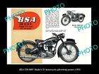 OLD LARGE HISTORIC PHOTO OF BSA MOTORCYCLE C11 MODEL ADVERTISING POSTER 1951