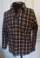 Vintage 70s Brown Plaid Flannel Pullover Shirt Built In Dickie David Harrison 15
