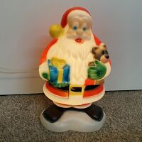 "Vintage 18"" Christmas Lighted Blow Mold Santa Claus ,Teddy Bear & Present"