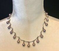 """16"""" silver tone necklace Choker with dangly faux pink pearls and crystals"""