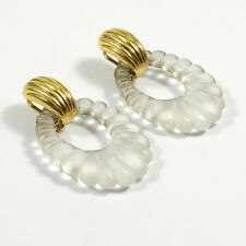 Große Art Deco Ohrringe 750 Gold & Bergkristall Ohrhänger Rock Crystal Earrings