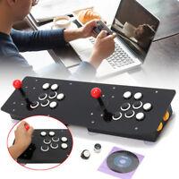 Double Arcade Stick Video Game Joystick Controller Black Acrylic For PC USB