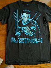 The Big Bang Theory Glowing Sheldon Bazinga! TRON NEON T-shirt Tee SMALL TBBT
