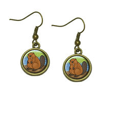 Beaver Dangle Dangling Drop Earrings