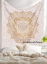 Queen Gold Ombre Mandala Indian Wall Hanging Boho Hippie Bedspread Throw Decor