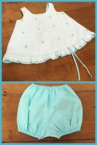 Vintage Baby Sun Suit Jumper Dress & Bloomers Floral Aqua 1960s 9 - 12 months