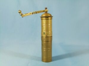 ANTIQUE OTTOMAN TURKISH TALL CARVED BRASS PEPPER COFFEE GRINDER MILL