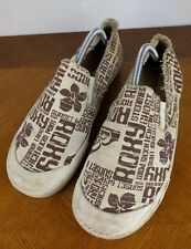 Roxy Pepperdine Text Slip On Shoes Womens 11 Flats Casual Retro Skater Hipster