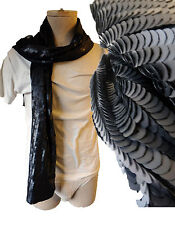 GOTHIC SNAKE black sequin scarf wicca mod snakeskin steampunk chainmail dress