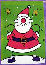 """Large Applique comic Santa Claus Christmas Porch Flag (28"""" x 40"""")"""