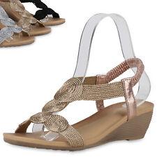 Damen Sandaletten Keilsandaletten Ethno-Look Sommer Schuhe 899993 Top