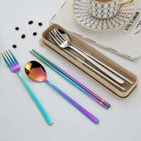 5Pcs Portable Stainless Steel Dinnerware Set  Picnic Tableware Cutlery Sets SALE