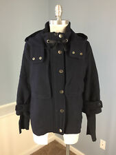 Basic House Anthropologie navy blue Wool Blend Swing coat Cropped M Excellent